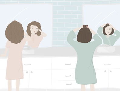 Getting Ready with Mom kids book childrens book illustration childrens book hair makeup bathroom digital illustration illustration
