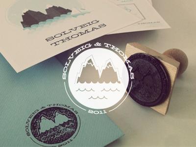 Solveig Thomas Wedding  wedding stamp print logo illustration