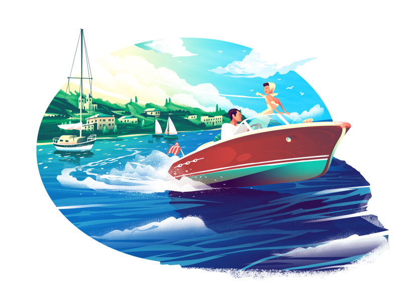 Vacation color water sunny boat sky seaside texture noise landscape vacation ship sea ocean holiday nature trip travel design illustration trinetix