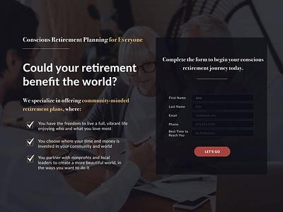 Conscious Retirement Planning Landing & Confirmation Pages branding minimalist design ui figma design