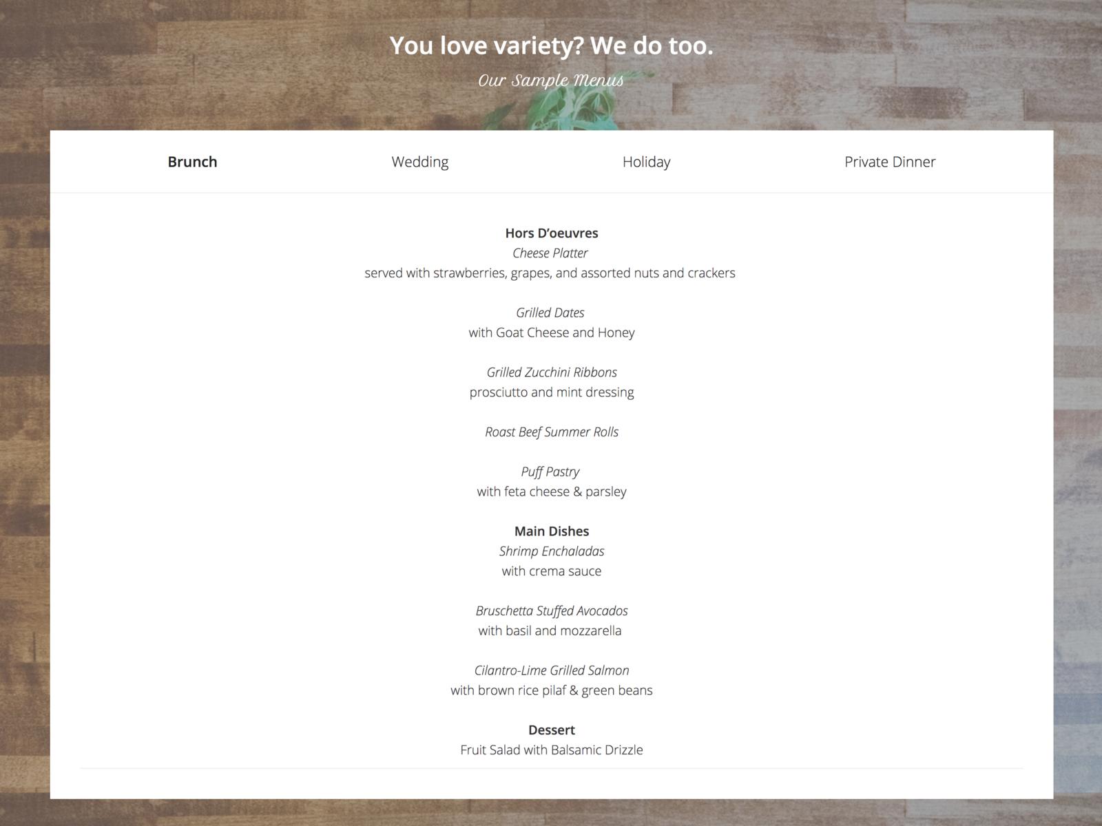 catering website template menus by rebekah daniels dribbble