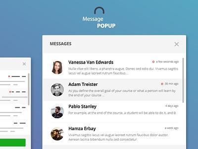 Message Popup app typography design web flat modal interface ux ui user list widget message popup