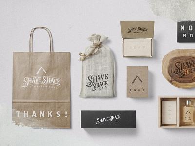 Shave Shack Barber Shop logo packaging type branding typography design