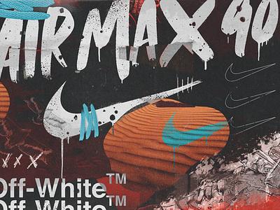 """""""OFF-WHITE x NIKE AIR MAX 90 DESERT ORE"""" digitalart illustration type branding typography design"""