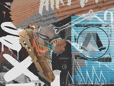 """OFF-WHITE x NIKE AIR MAX 90 DESERT ORE"" graphic design art direction digitalart illustration type branding typography design"