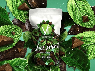 Youfoodz Choc Mint Protein Powder packaging typography branding design