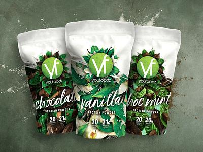 Youfoodz Protein Powder Packaging design typography packaging branding
