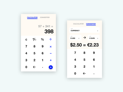 Calculator/Converter Concept mobile calculator ui