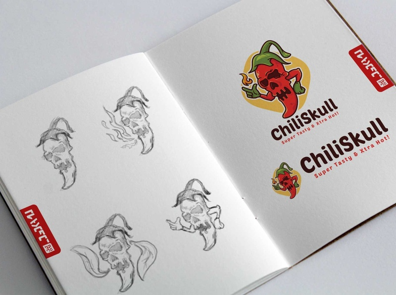 Spicy Skull Logo Template concept brainstorming sketch logo template cartoon restaurant spicy branding illustration identity logo vector