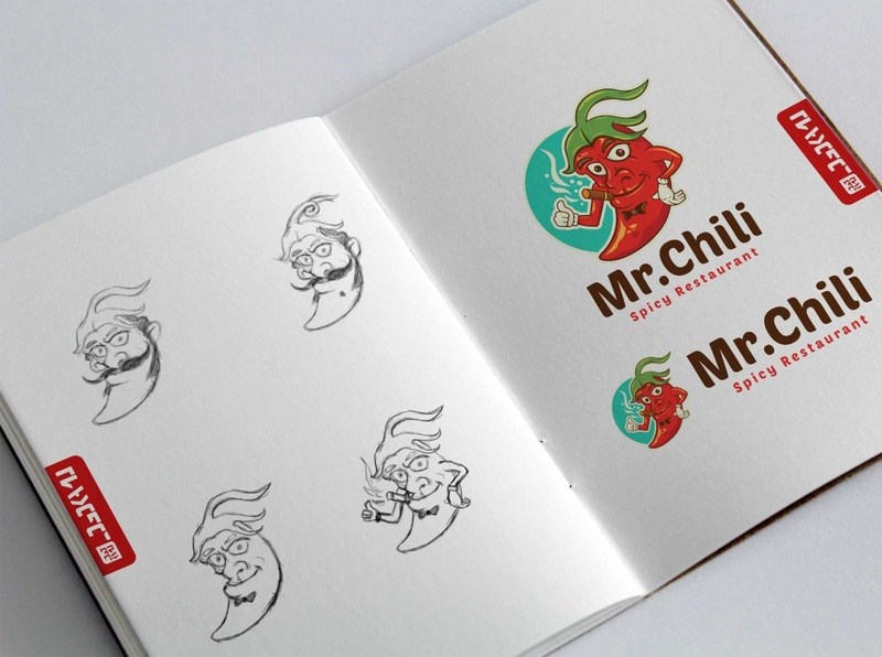 Mr. Chili Logo Template hot chilli food icon restaurant spicy concept cartoon sketch illustration brand identity logo branding vector