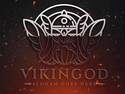 Viking God Logo Template old mascot strength power fantasy viking zeus old man classy vector logo template elegant line gods