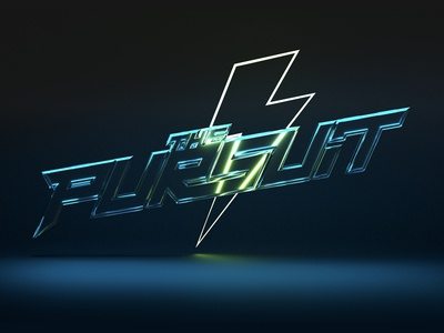 The Pursuit Logo glass lightning vector icon cinema4d 3d graphic clean typography branding design logo