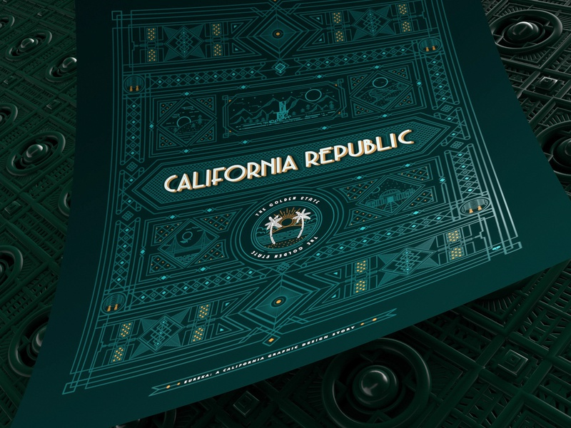 California Republic Poster gold foil line art clean design california illustrator 3d art poster cinema4d illustration 3d graphic clean typography vector design logo