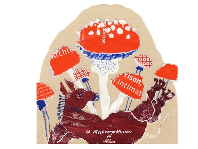 Mushroom mission texture art hourse mushroom mixed media childrens book character design color paper collage paperart painting illustration collage