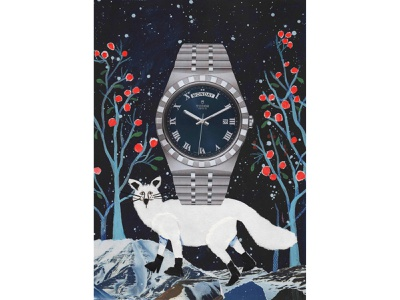 """""""Himmapanmashmallow"""" Illustration for L'officiel Hommes night winter blue fox watch editorial design editorial editorial illustration mixed media color paper collage paperart painting illustration collage"""