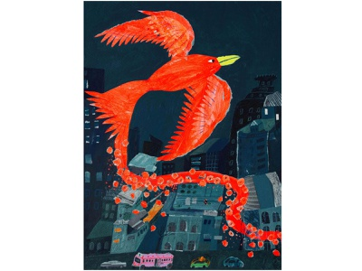 The Flight of Expression  2021 city bird editorial illustration editorial childrens book mixed media paper collage paperart collage color painting illustration