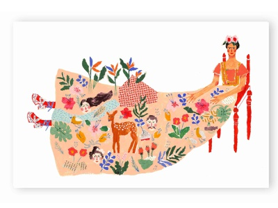 Frida and what the water gave me character design women deer dress frida fridakahlo giclee gicleeprint children book illustration childrens illustration texture design character mixed media paper collage paperart collage color painting illustration
