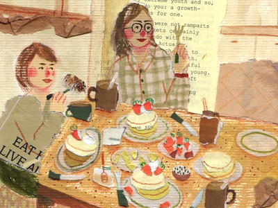 Lunch Time gathering family food mixed media paper collage paperart collage illustration