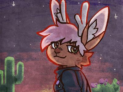 Sonoran Sunset fantasy art jackalope procreate art procreate desert illustration