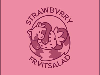 Strawbvrry/FrvitSalad Logo illustrator strawberry red panda redpanda vector logo graphic design