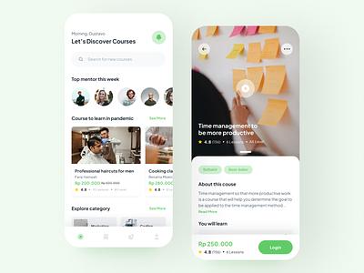 Online Course Design Exploration android ios mobile minimal ui design inspiration awesome design design app ui