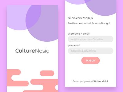 Login page design - CultureNesia app minimal ux design android ui