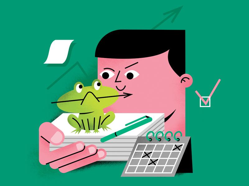 eat the frog first to do list deadline иллюстрация office frog