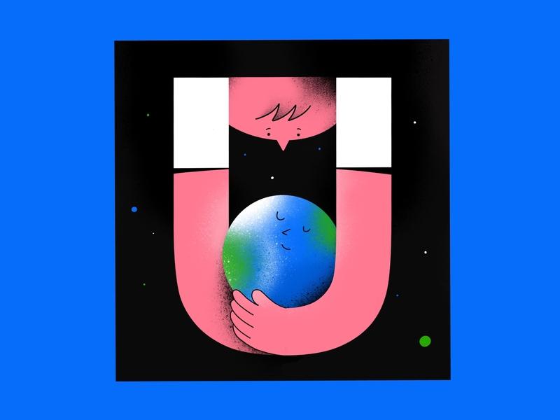 U - universe. Happy 🌏 типография ручная надпись lettering letterday illustrator иллюстрация 36 days of type lettering 36 days of type hand lettering illustration