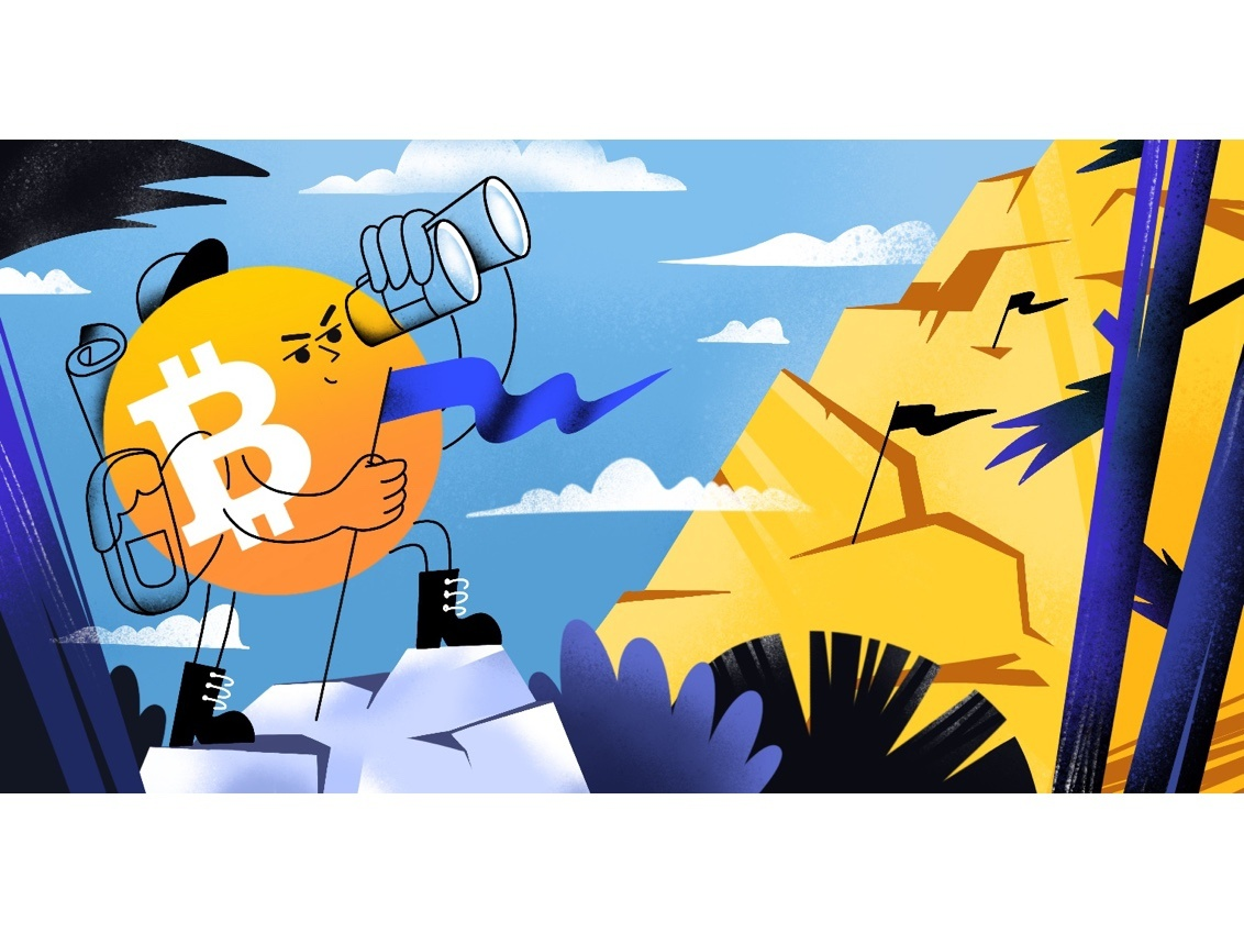 Bitcoin new horizon crypto characterdesign mountain flag horizon new illustrator illustration bitcoin