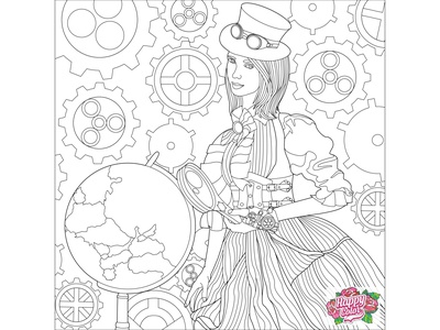 """05 Line art for mobile app """"Happy Color - Color by Number"""""""