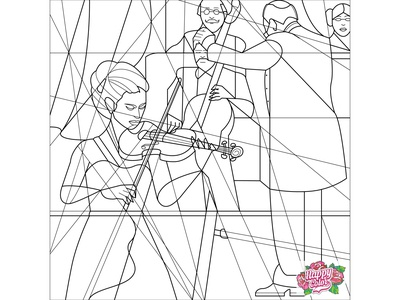 """14 Line art for mobile app """"Happy Color - Color by Number"""""""