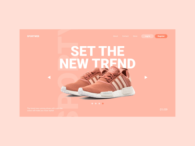 Shoes Landing Page Design illustration minimal flat web app ui ux