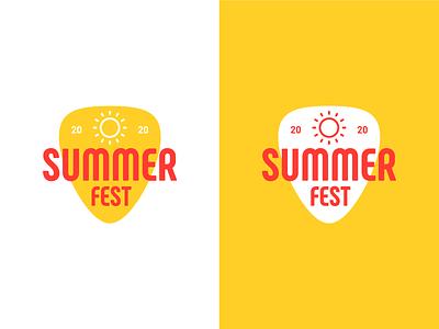 30 Days of Logos | 05 - Summer Fest free guitar pick crest illustrator summer festival vector challenge minimal logo design logo graphic design flat design branding
