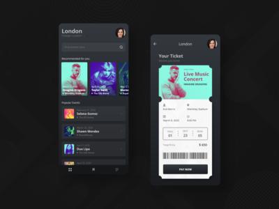 Concert Ticket App uiux mobile app simplicity minimal dark ui concert app music ticket app concert