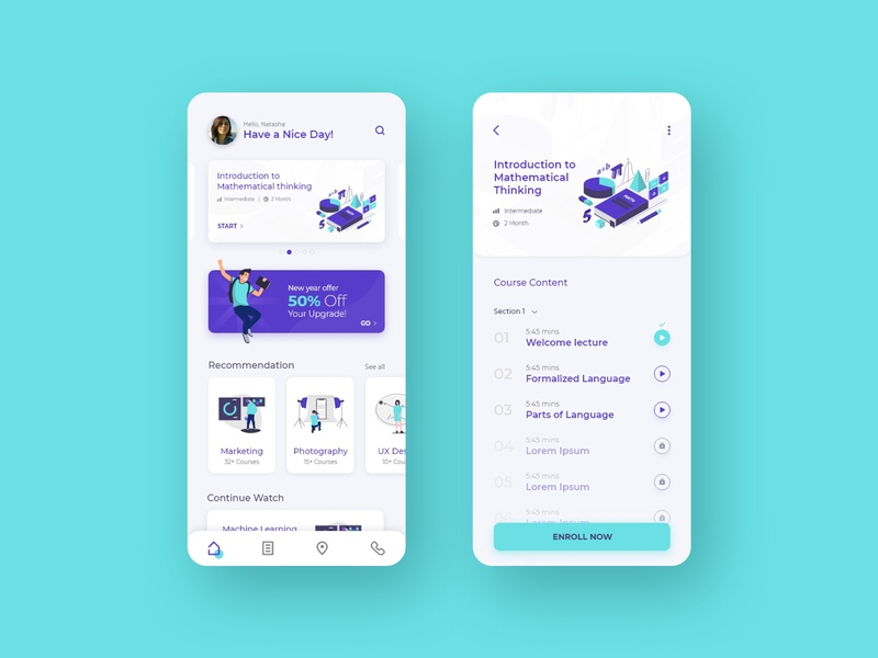 E-learning app illustration design minimal course screen uiux ui clean interface modern app app ui ux app ui elearning