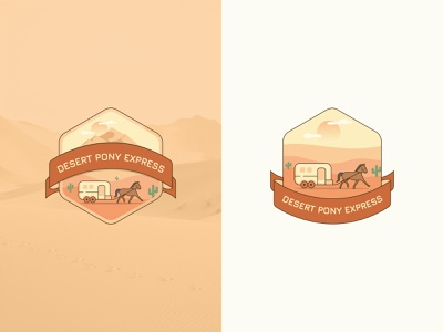 Desert Pony Express creative logo design 2020 illustration emblem logo creative round sunny sun mountain horse rv sticker emblem logo logo desert emblem