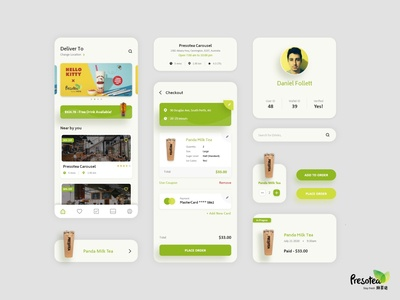 Presotea - Drink app clean minimal android iphone ui online drink mobile app design uiux place order green mobile app drink store button profile checkout food app delivery app drink drink app