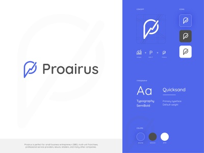 Proairus Branding android ios favicon mark logo mark blue marketing logo vector typogaphy app illustration icon identity logo branding