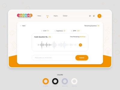 Online Exam exam dashboard orange 2020 simple minimal clean ui ux ui uiux dashboard app dashboard student online exam exam quiz