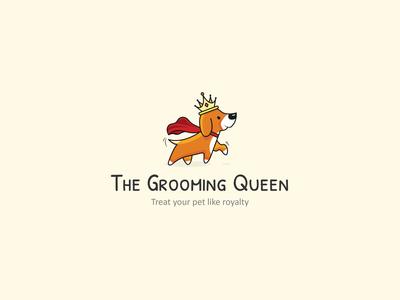 The Grooming Queen - Logo robe crown pet logo pet branding 2020 illustration dog illustration logotype dog logo dog queen grooming