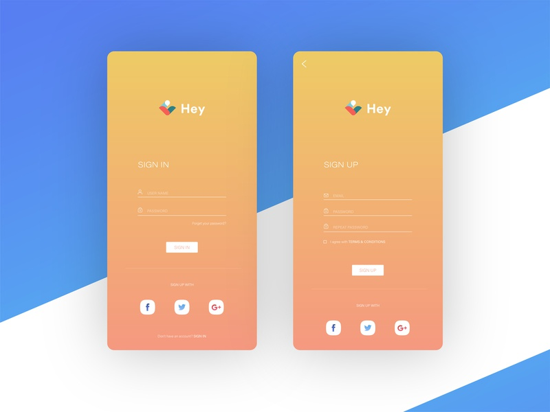 Hey Chat Signin & Signup Screen simple design minimal clean app design signup page sign in page app design ui ux ui ux design messenger app chat app login sign up sign in
