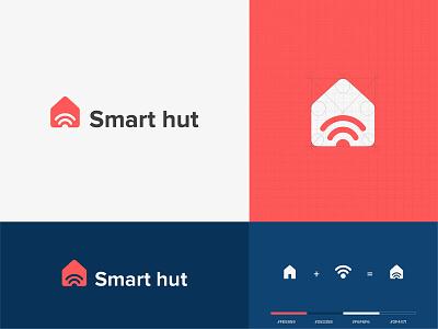 Smart-hut Logo Branding logotype hut logo simple logo minimal wifi smart logo smart home logo creative logo logodesign logo
