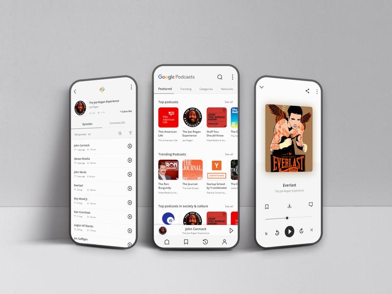 Google Podcast App 2019 landing page app design clean app google design minimal uiux mobile app podcasts app podcast