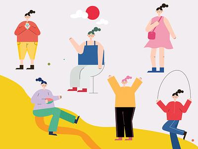 Living alone exercises speech a drink eat fruit eat fruit work jump rope movement 2020 illustration design