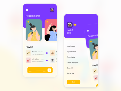 Music APP play recommended music app sign up 2020 sign in ux design illustration ui
