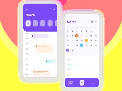 Calendar APP time arrange schedule remind 2020 illustration ui calendar