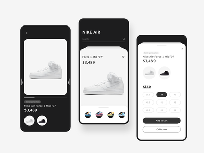 Nike air app shopping search home app nike air nike 2020 design illustration ui