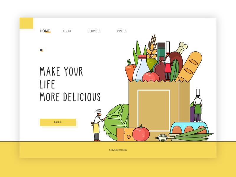 Delicious food 设计 插图 ux ui