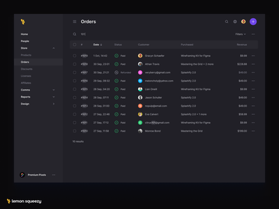 Table Search table search results search bar search darkmode dark minimal ui ux cleanui clean