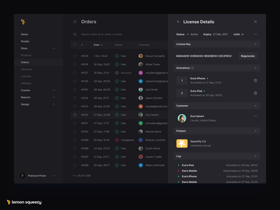 License Panel table orders order cleanui clean minimal license keys license dark darkmode ecommerce app ecommerce design ecommerce